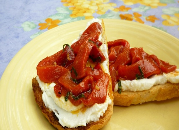 White Bean Paste Toasts with Roasted Red Peppers