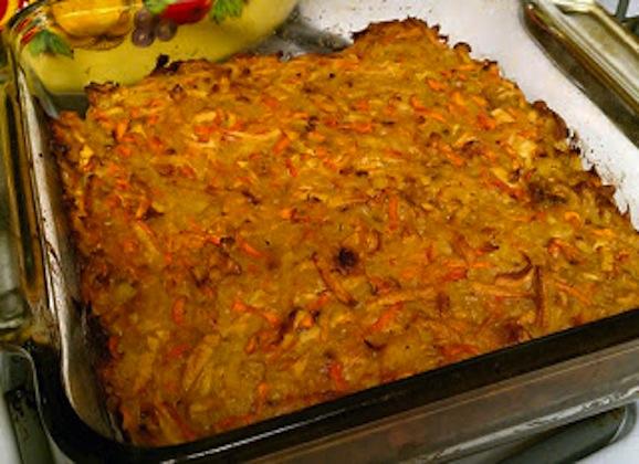 Kasha, Potato, and Carrot Casserole with Mushroom Gravy