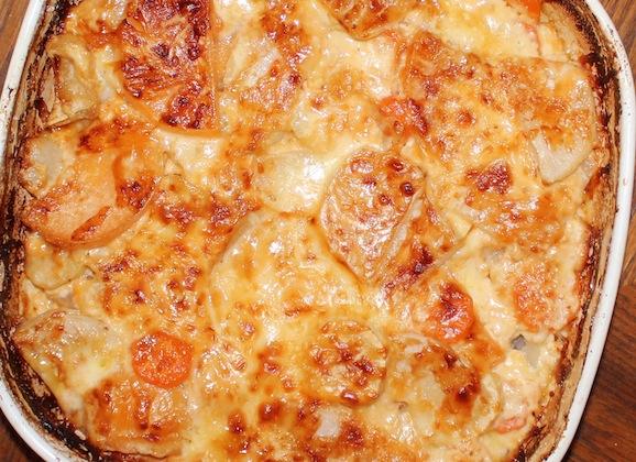 Potato, Turnip, & Carrot Gratin with Garlic-Herb Béchamel Sauce